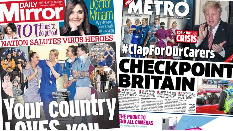Front pages of the Daily Mirror and the Metro