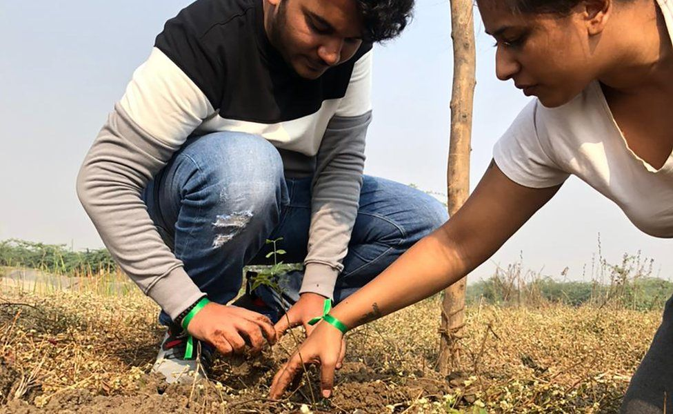 KidsRights Foundation volunteers planting trees in India