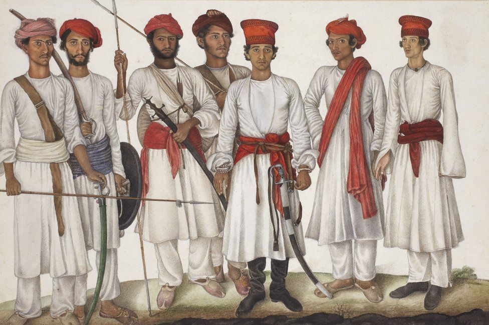 A group of Indian troopers who fought for the English by Ghulam Ali Khan, 1815-16