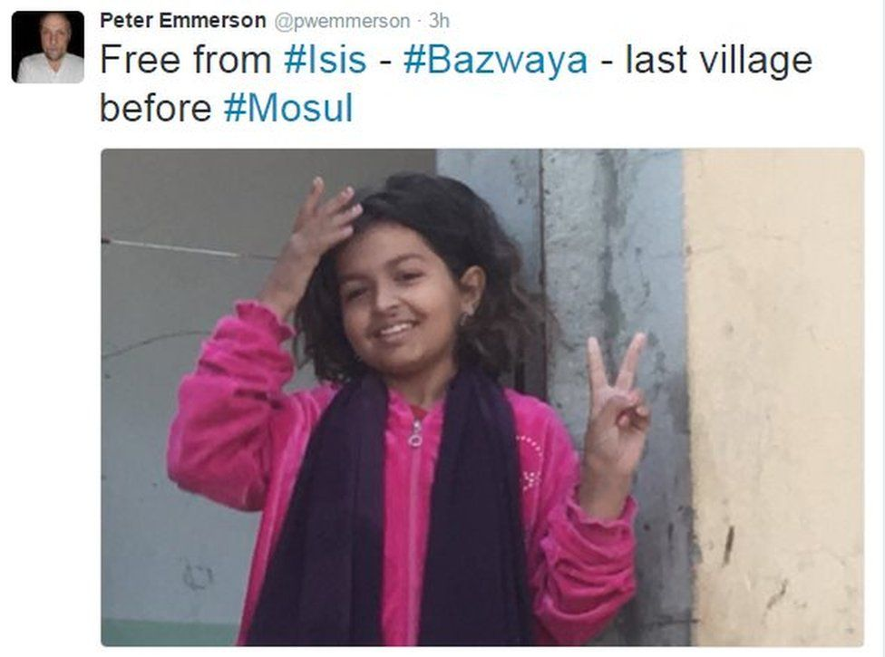 Tweet from Peter Emmerson reads: Free from Islamic State - Bazwaya, last village before Mosul