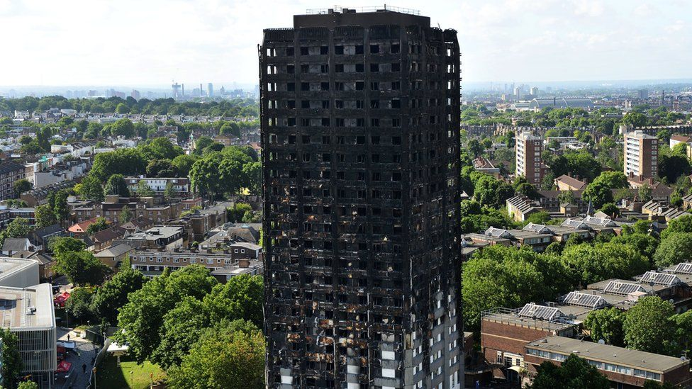The burnt-out remains of Grenfell Tower