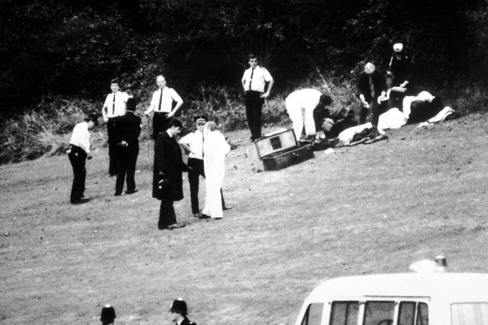 Forensic experts search Wild Park on 11 October 1986