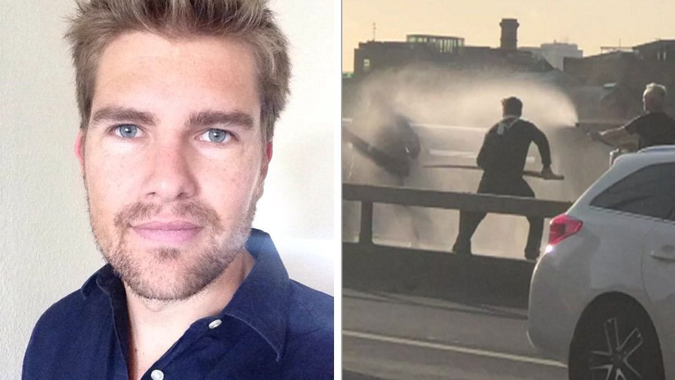 Composite of a Darryn Frost headshot and Mr Frost during the London Bridge attack