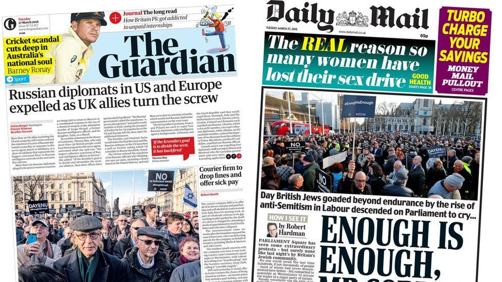 Composite image showing Guardian and Daily Mail front pages