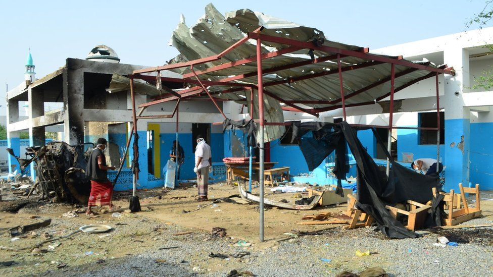 Aftermath of a Saudi-led coalition air strike on the Abs rural hospital in Hajjah province, Yemen (16 August 2016)