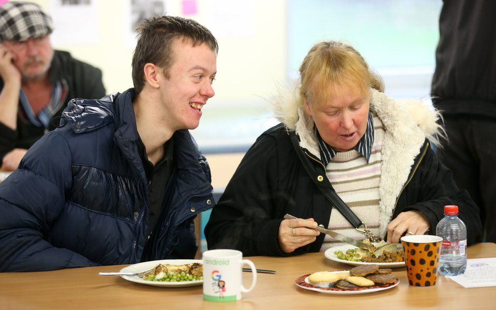 Centre users Michael Hunter and mum Denise at the the West End Foodbank in Benwell