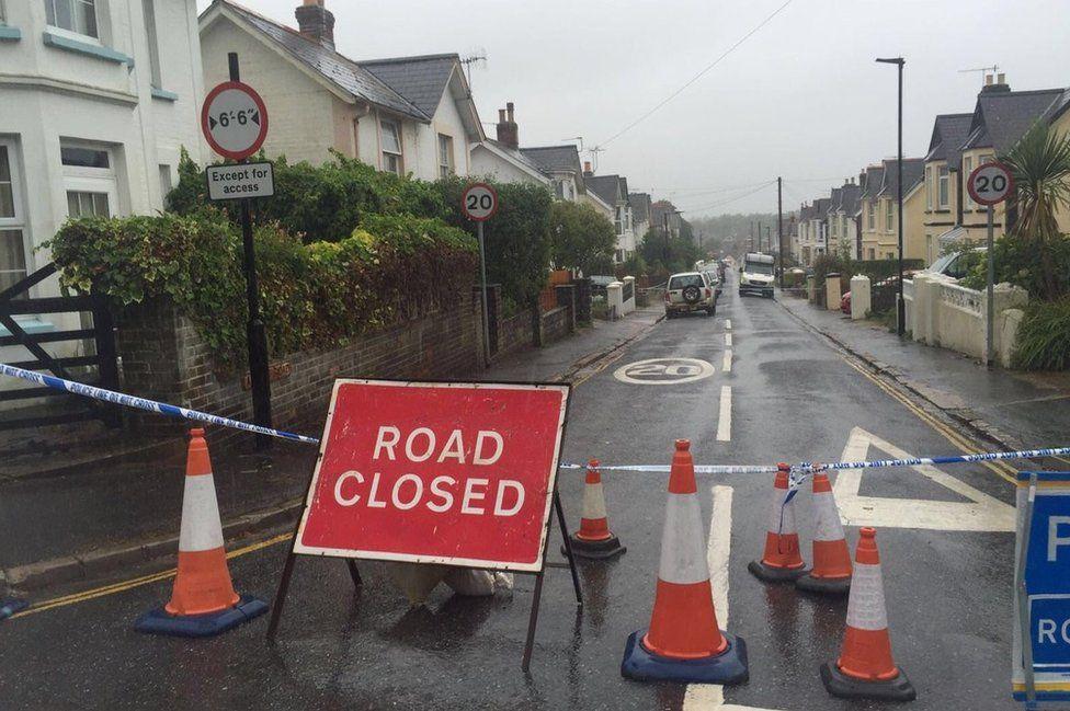 Albert Road, Shanklin, cordoned off