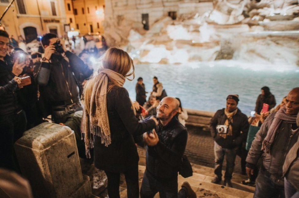A couple proposing