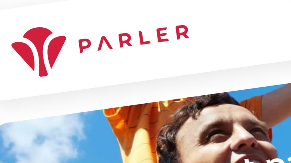 The Parler logo in a screenshot from its website