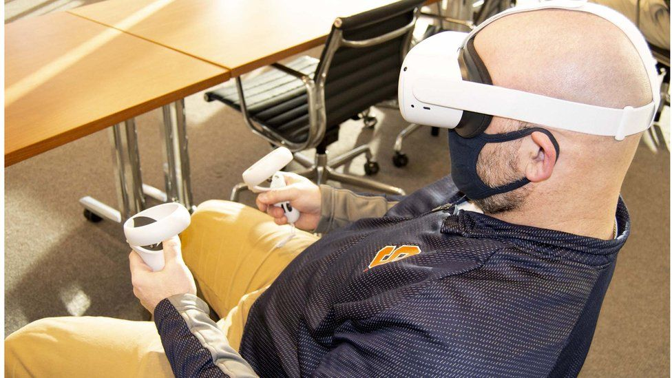 A veteran at Syracuse University using the Artificial Intelligence Designed for Employment (AIDE) training tool.