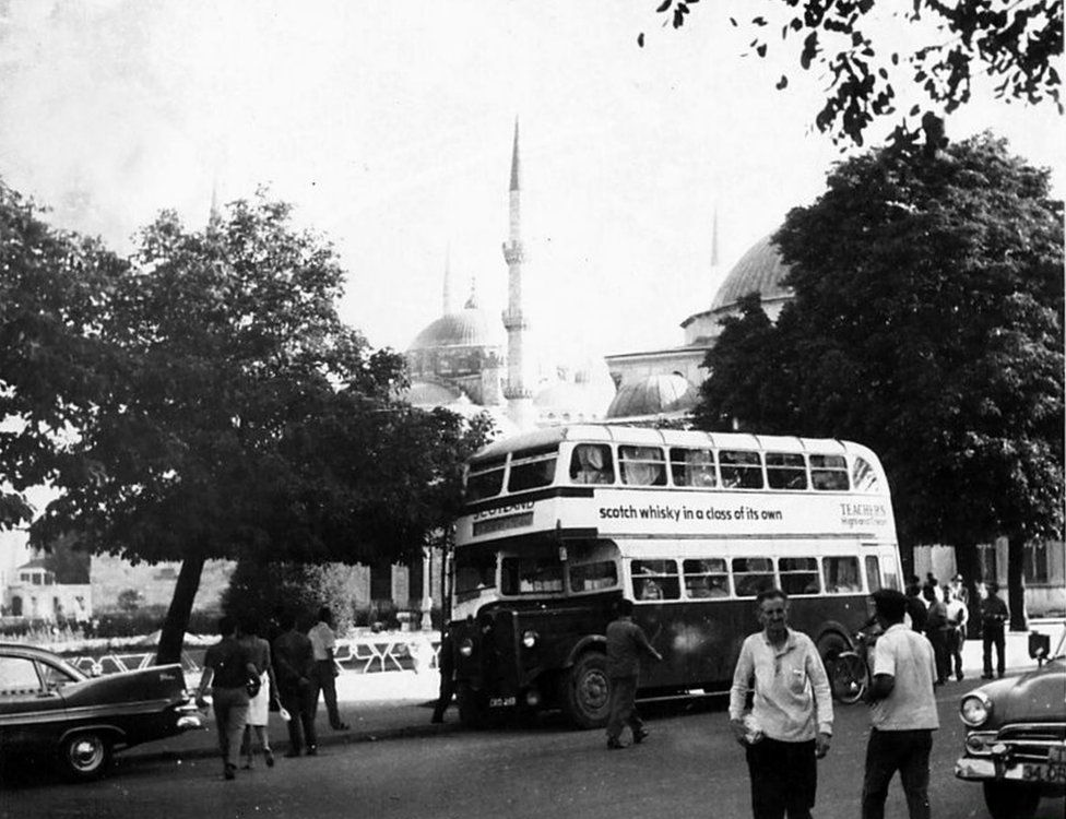 Bus parked near Hagia Sophia museum and the Blue Mosque in Istanbul
