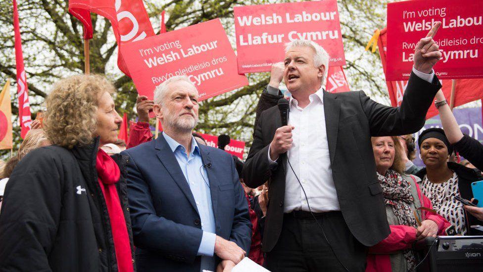 Carwyn Jones with Jeremy Corbyn and Christina Rees