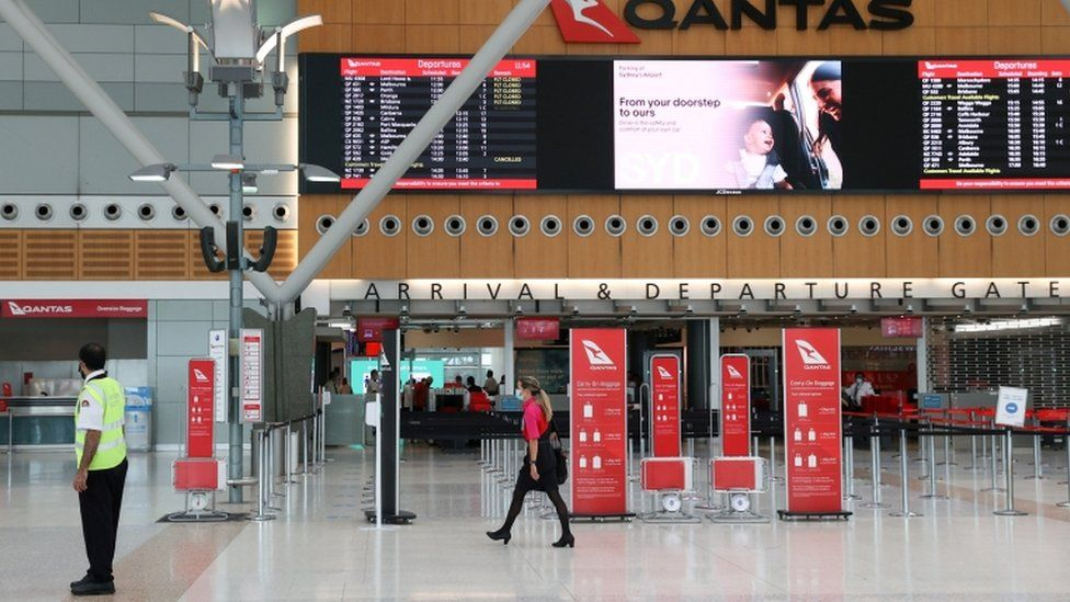 A mostly empty domestic terminal at Sydney Airport is seen after surrounding states shut their borders to New South Wales in response to an outbreak of the coronavirus disease.