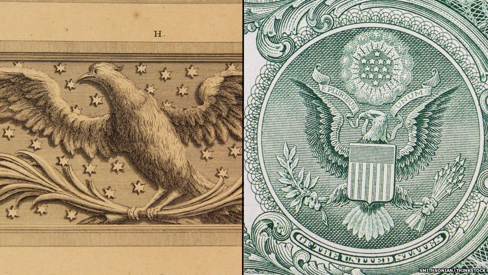 Combined eagle on Palmyra and dollar bill