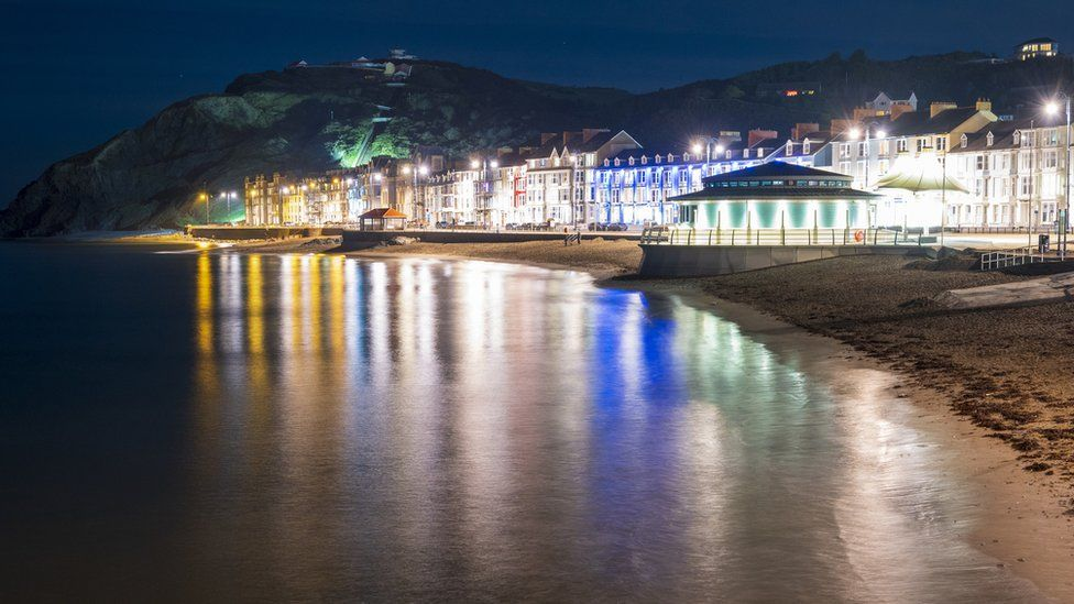 Aberystwyth prom lit at night