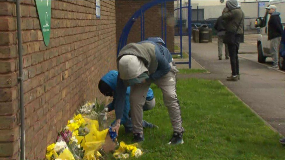 Flowers left outside Walthamstow Leisure Centre