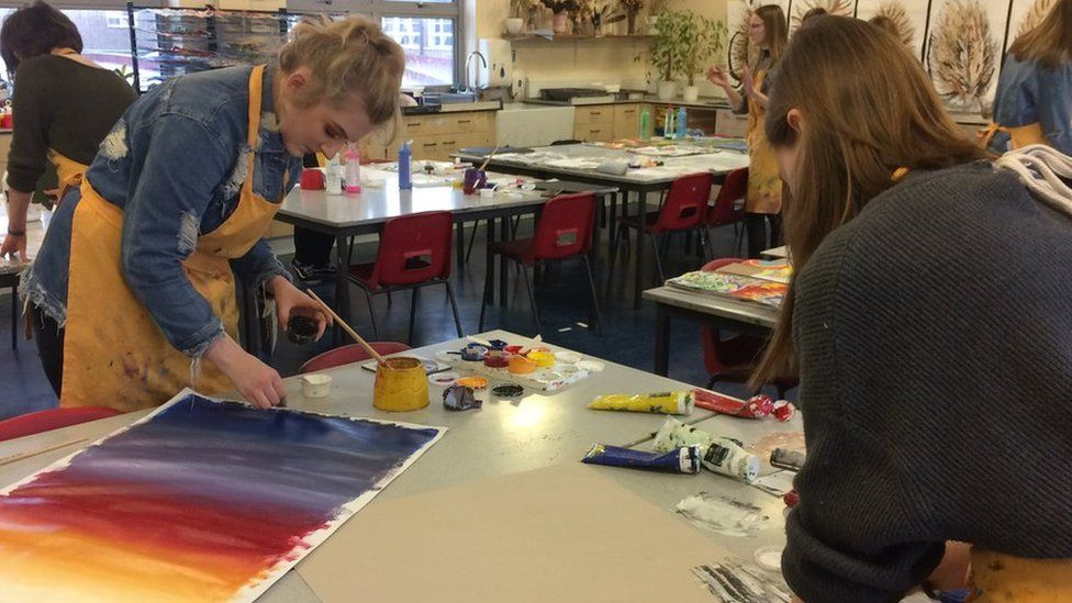 Pupils painting in an art class