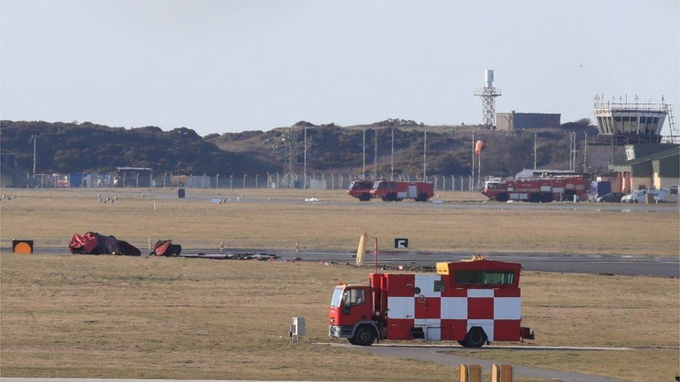 The wreckage at RAF Valley