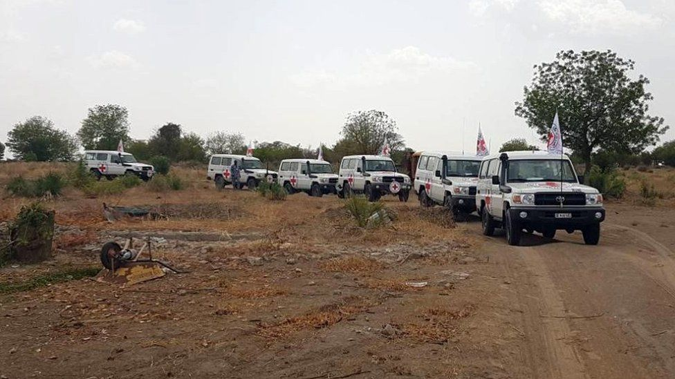 An ICRC Africa convoy thought to be carrying the girls to a military base