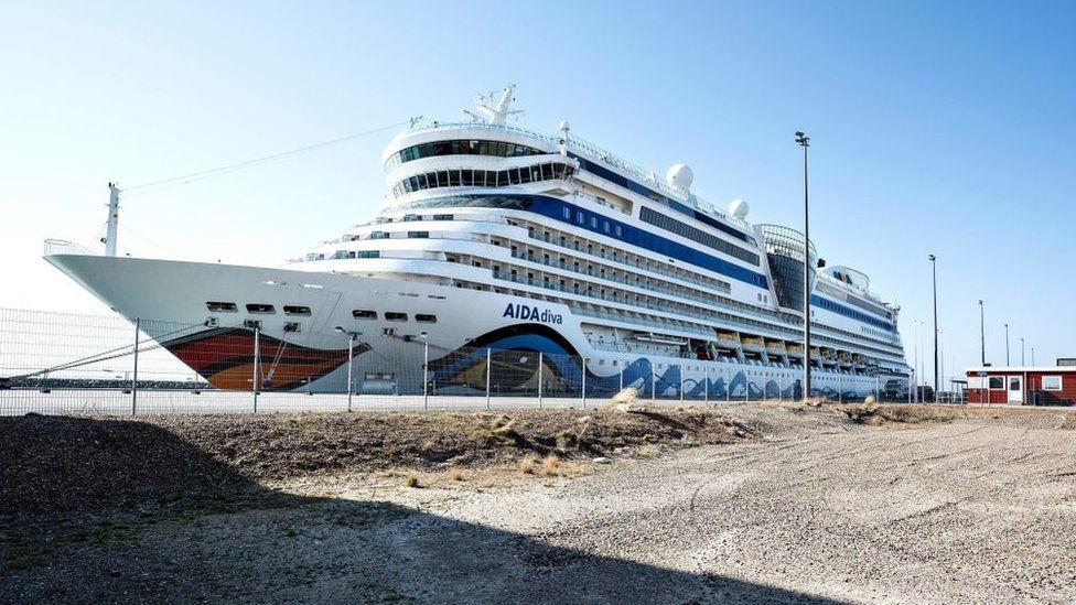 The Aida Diva cruise ship moored up in Denmark