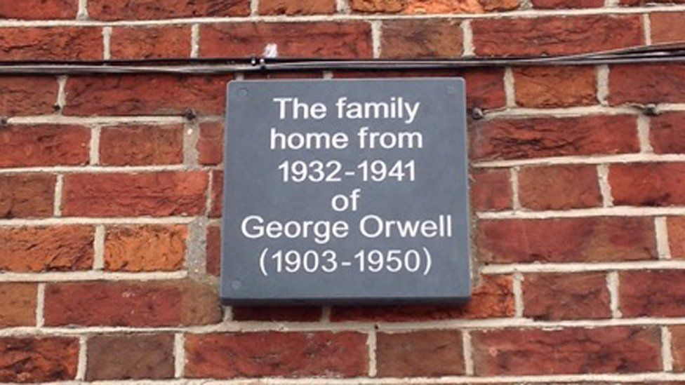 The new plaque commemorating George Orwell's time at Montague House in Southwold