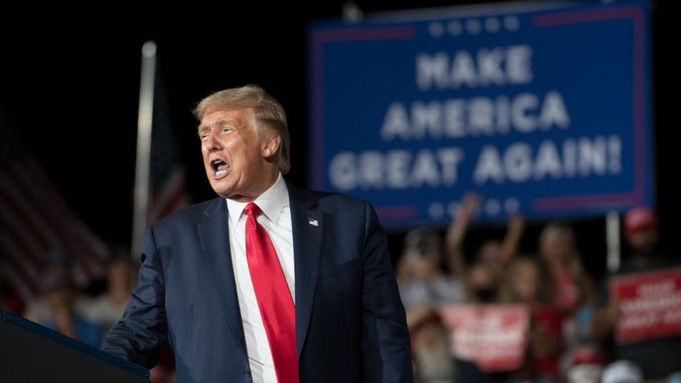 Donald Trump speaks at a campaign rally