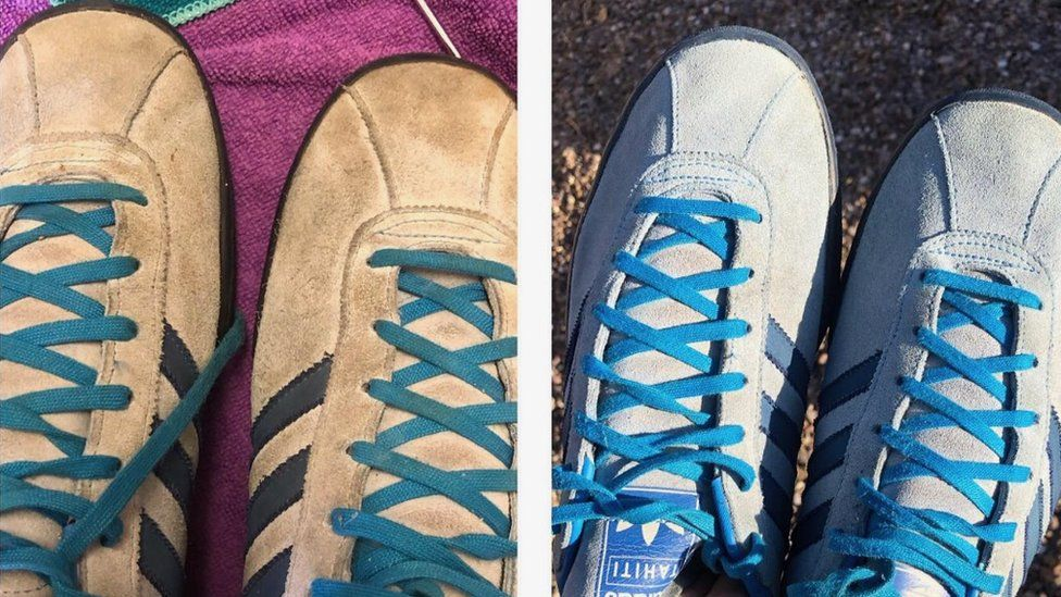A pair of trainers before and after they were restored by Lance Birchall