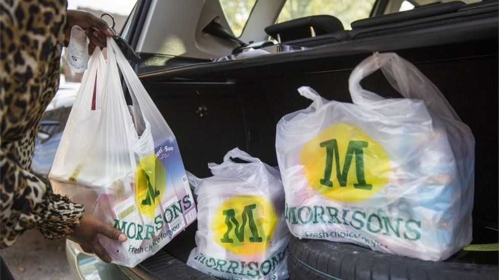 customers with Morrison shopping bags