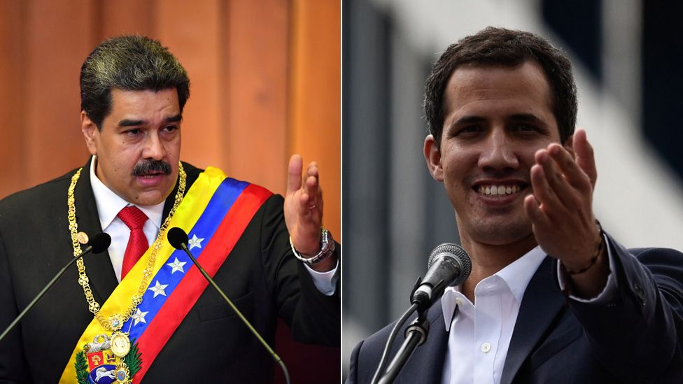 Composite photo showing Nicolás Maduro (left) and Juan Guaidó