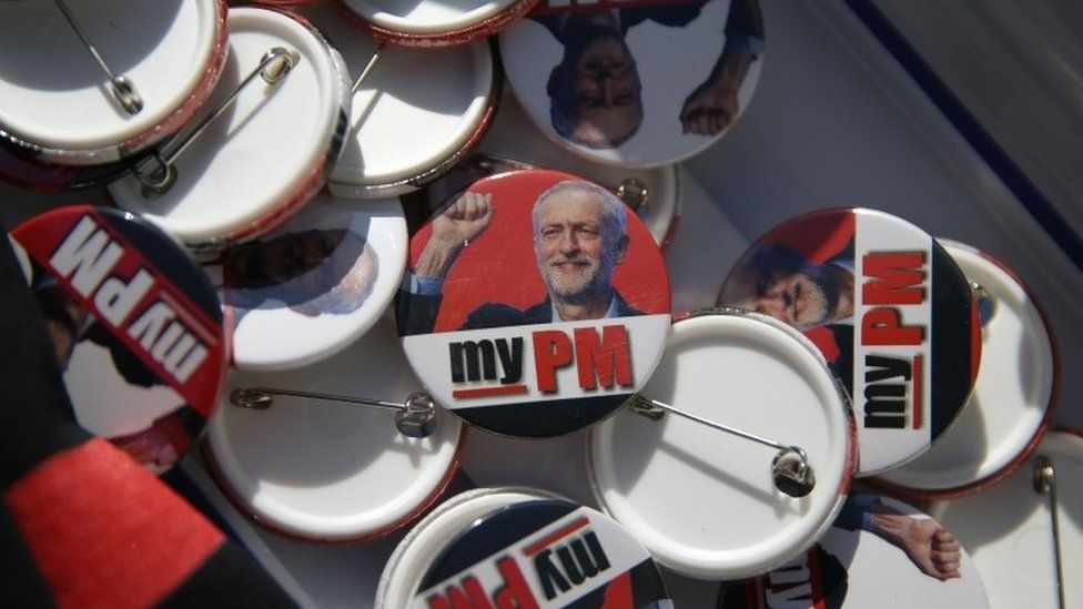 Badges on sale outside Labour conference in Brighton