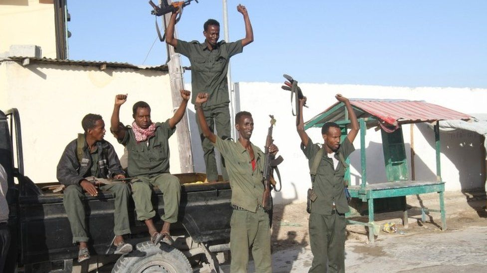 Somali soldiers celebrating Mr Mohamed's victory
