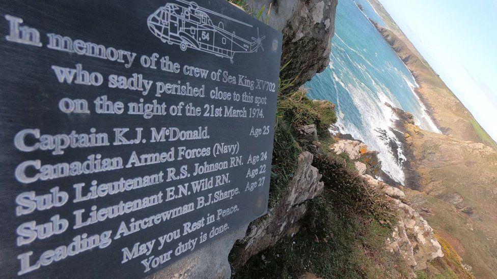 Crash memorial at Beagle Point. Pic: Royal Navy