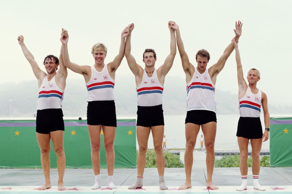 Adrian Ellison (right) at the 1984 Olympics with Martin Cross (left), Richard Budgett, Andy Holmes and Steve Redgrave