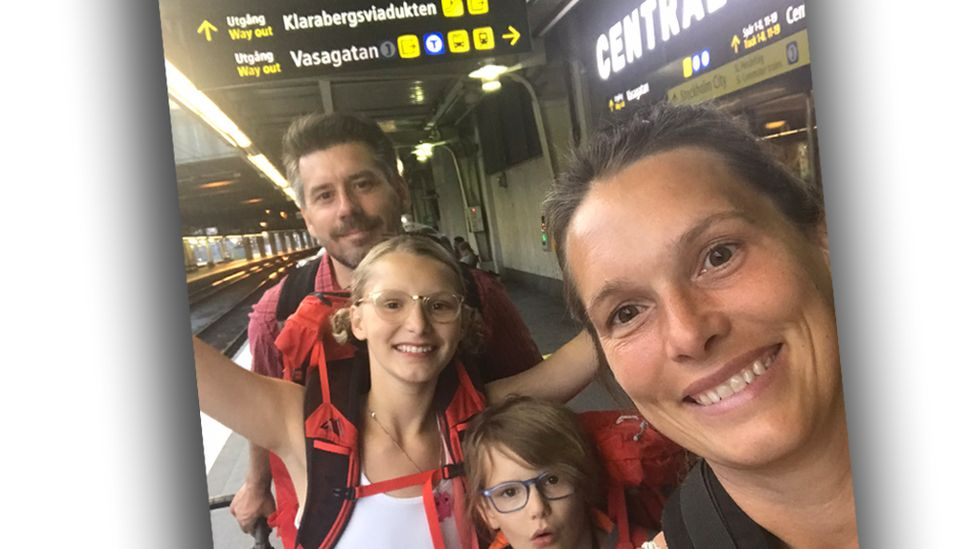 Anna Hamno Wickman and her family at a railway station
