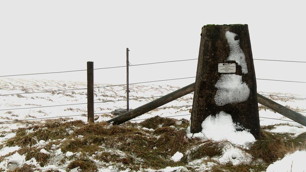 Clyde Law trig point: Downpours here can trickle all the way to the North Sea, Solway Firth and Clyde Estuary.