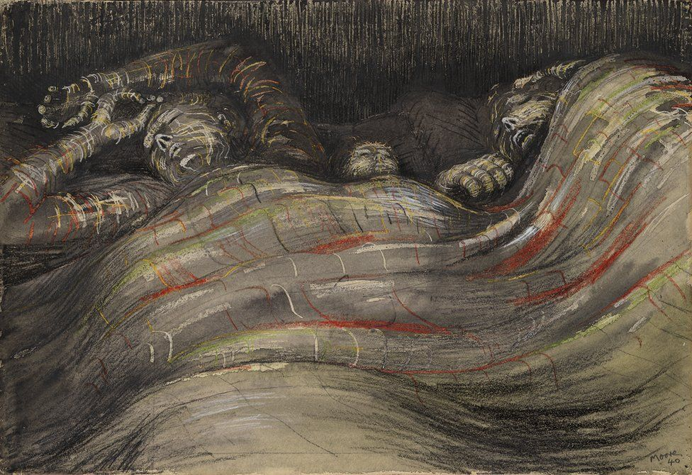 A drawing of people sleeping in an underground Blitz shelter