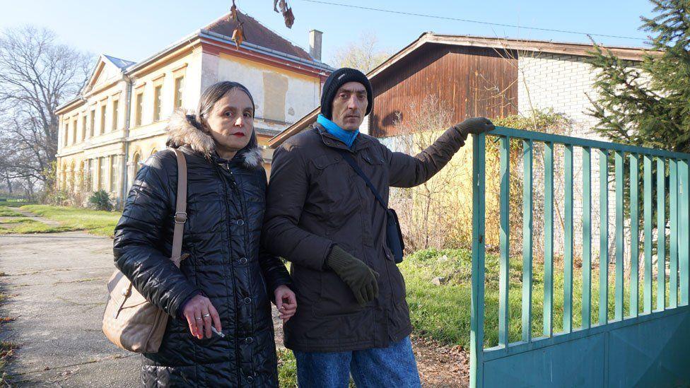 Branka and Drazenko outside the Cepin asylum