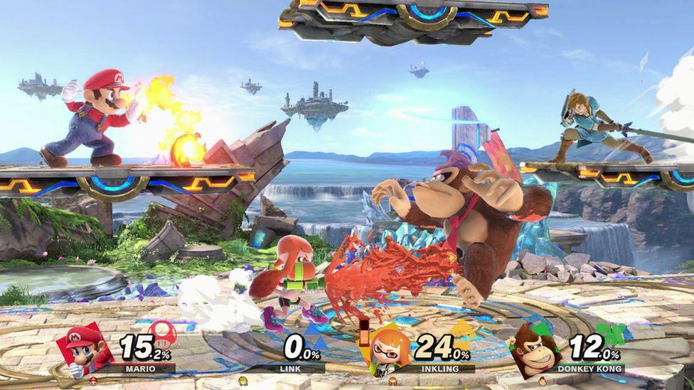 A fight scene from Nintendo's Super Smash Bros.