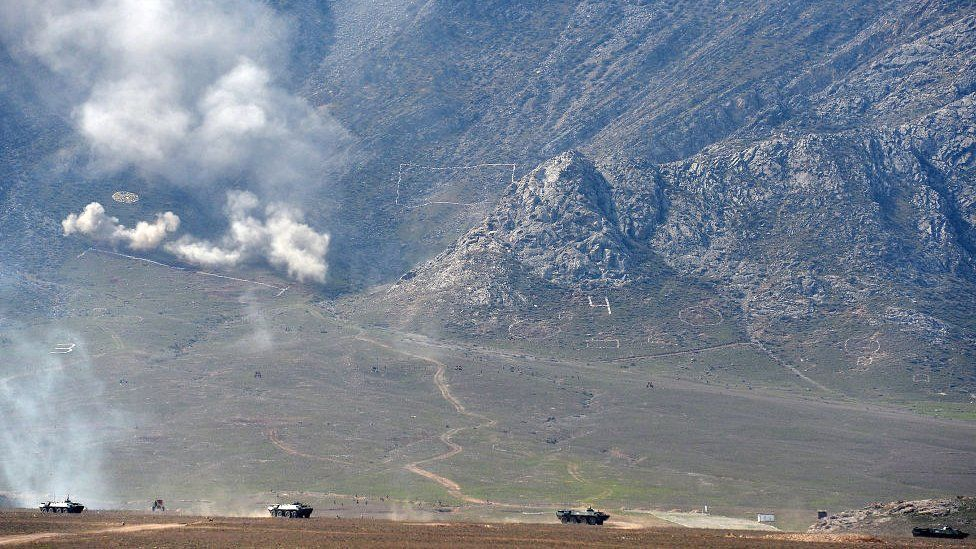 File picture of a military drill held in early April in the border region of Batken in Kyrgyzstan