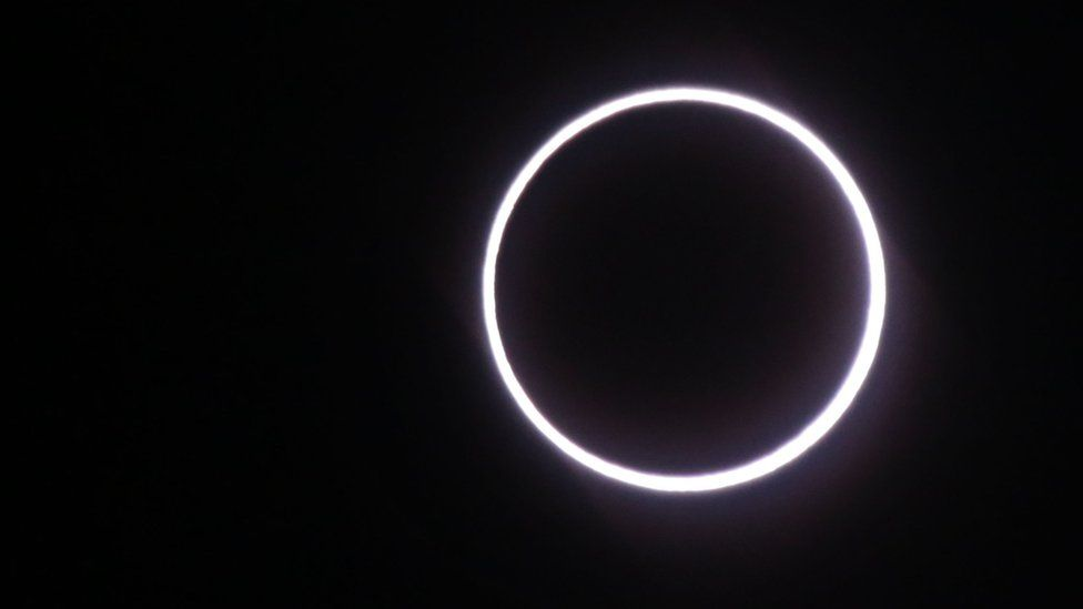 A 'ring of fire' effect seen during the eclipse