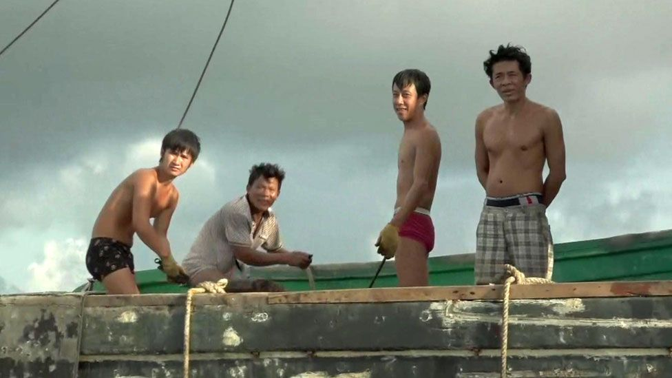 Crew of one of the Tanmen fishing boats