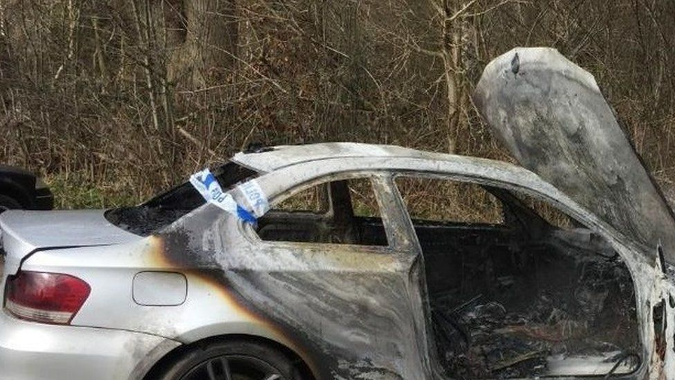 A white one series BMW was found burnt out by the entrance to Crackley Woods on 22 March.