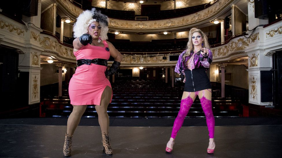 Vinegar Strokes and Courtney Act attending a photo call for the comedy Death Drop at the Garrick Theatre in London