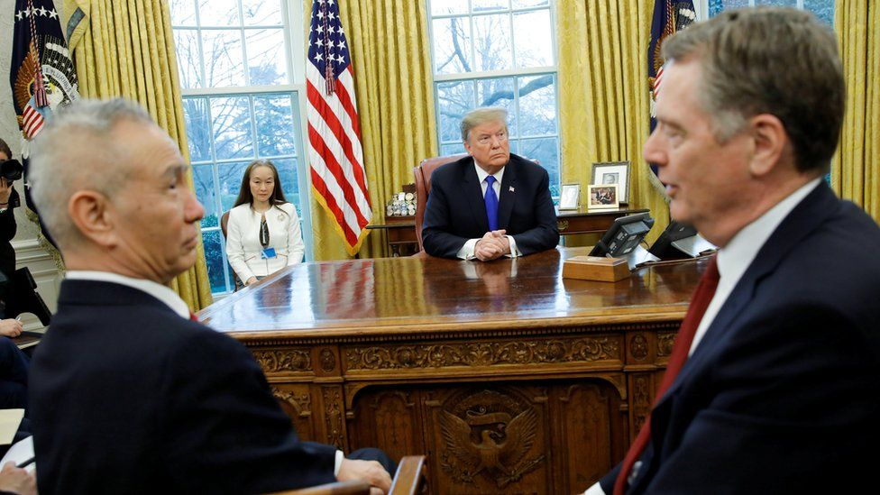 "US President Donald Trump looks on during a meeting with China""s Vice Premier Liu He and U.S. Trade Representative Robert Lighthizer (R) in the Oval Office at the White House in Washington, U.S., February 22, 2019."
