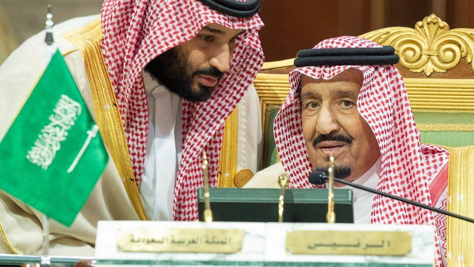 Saudi Crown Prince Mohammed bin Salman speaks to his father King Salman in Riyadh on 9 December 2018