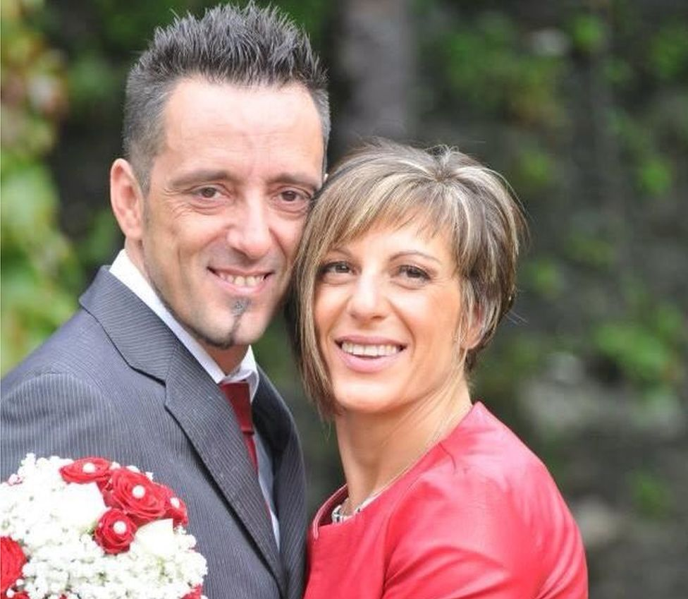 Roberto Robbiano and his wife Ersilia Piccinino, pictured on their 2014 wedding day