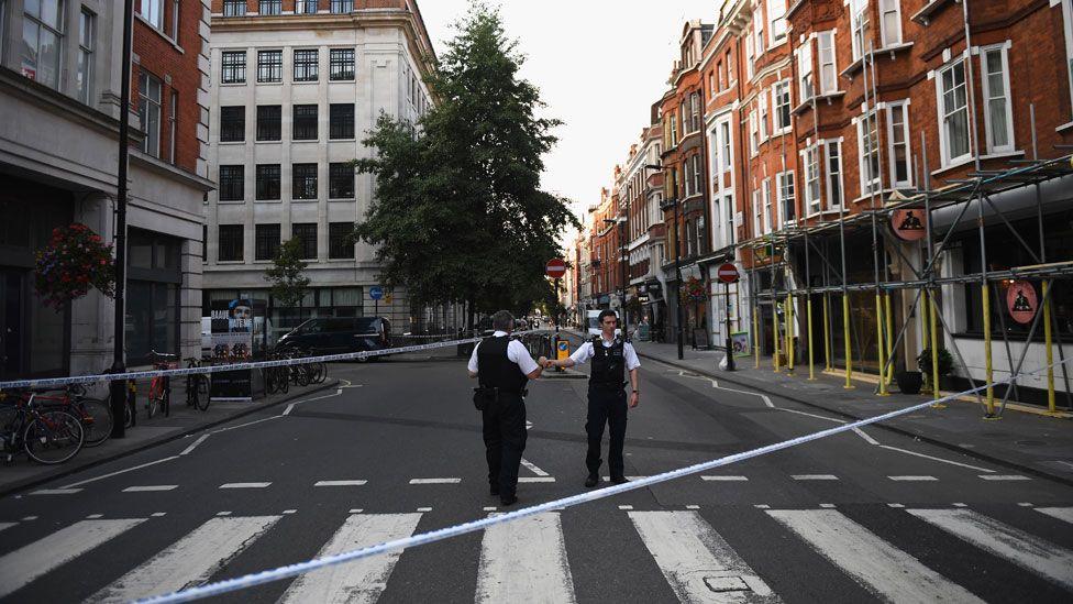 The police cordon outside the BBC