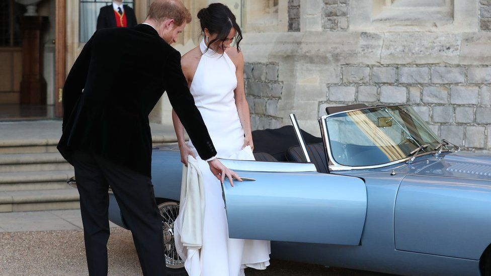 The Duke and Duchess of Sussex about to drive to their evening wedding reception at Frogmore House