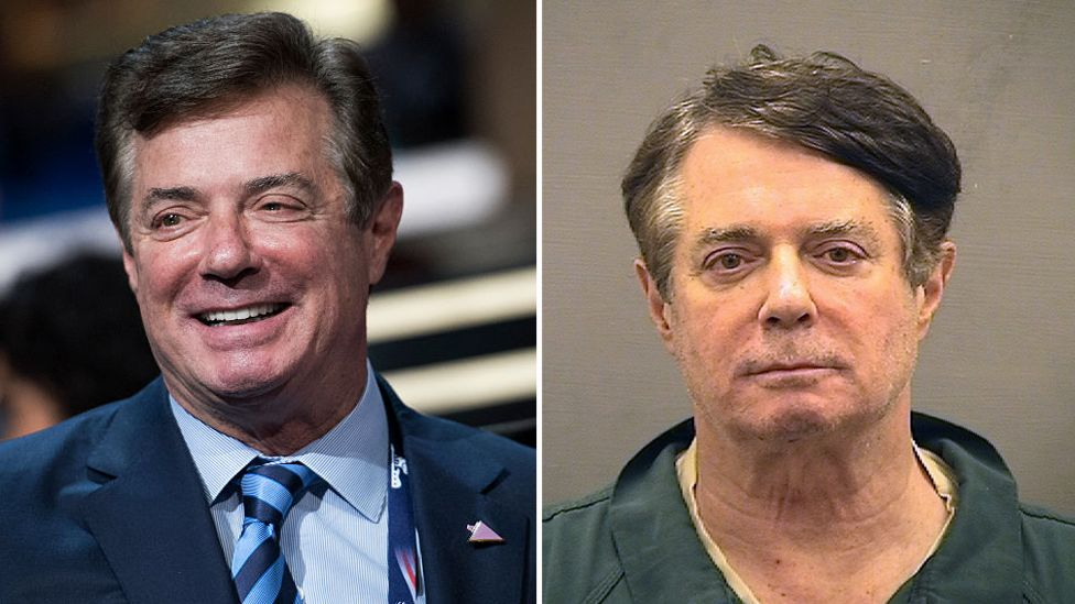 Former Trump campaign chair Paul Manafort - before and after being jailed