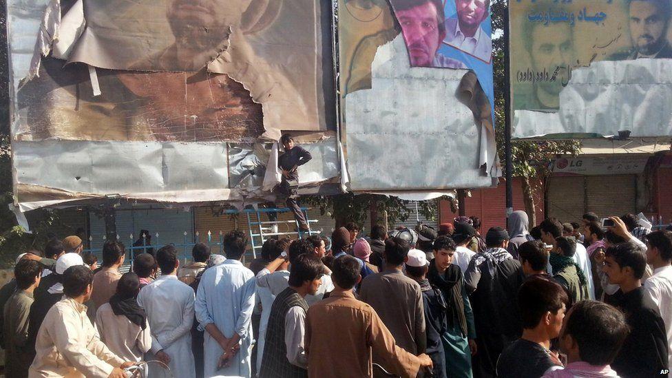 Torn posters in Kunduz, 29 September 2015
